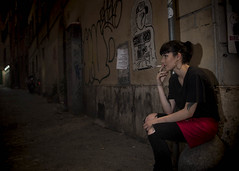 Rome 2016 (Blinkofanaye) Tags: street red italy black rome girl beautiful tattoo hoop alley pretty cigarette candid smoke flash stranger smoking earrings strobe