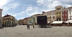 64. Filmfestival von Locarno / der Projektor wurde schon auf der Piazza Grande aufgestellt und das Programm wird bald angeschlagen / film festival program () Tags: film festival schweiz switzerland tessin ticino 64 program locarno svizzera filmfestival programm 64th piazzagrande climateneutral klimaneutral climateneutralevent