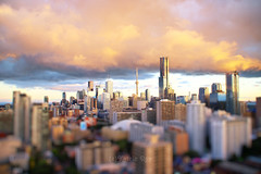 Golden Sunset in Miniature Toronto (Katrin Ray) Tags: sunset summer toronto ontario canada blur canon eos rebel lights miniature downtown colours skyscrapers bokeh magic cloudscapes tiltshift canonphotography sunmagic 750d dreamscapesoftoronto katrinray t6i goldensunsetinminiaturetoronto
