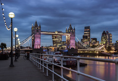 City Lights... (JH Images.co.uk) Tags: london clouds water riverthames tower bridge city cityscape lights architecture night hdr dri lamp blue hour sky skyscrapers skyscraper