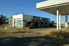 Stay Happy (rickele) Tags: abandoned graffiti i5 happiness gasstation vacant lords yolocounty outofbusiness dunnigancalifornia