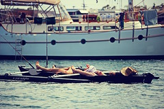 Lazing On A Sunny Afternoon (Art By Pem Photography: Tao Of The Wandering Eye) Tags: travel woman usa man water canon eos rebel bay boat fishing kayak nap sandiego socal lazy boating southerncalifornia strawhat whimsical sl1 fineartphotography fishingrod scenicsnotjustlandscapes canoneosrebelsl1