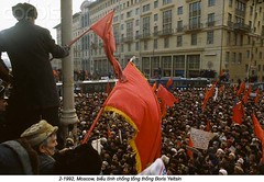 42-18541921 (ngao5) Tags: city people europe russia many moscow flag rally crowd group government protester russians urbanscenes europeans nationalflag politicalandsocialissues capitalcity nationalcapital sovietflag easterneuropeans borisyeltsin