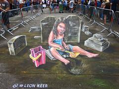 LEON KEER - 3D Art (surreyblonde) Tags: upfest bristol 2016 streetart graffiti stencils arts urbanart brizzle walls hoardings cans spray canon g15 leonkeer 3d art chalk girl bucket spade sand 3dimensional