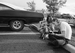 Cruise Night Tunes (Sherlock77 (James)) Tags: calgary cruisenight streetportrait people man woman musician guitar car classic pontiac parisienne