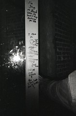 2015-B and W-Roll 6-001 (IkeWink) Tags: 35mm bw blackandwhite kodak trix canon sure shot nyc brooklyn greenpoint love notes