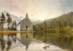 The door (Jean-Michel Priaux) Tags: paysage landscape nature abbey church abbay forest photoshop texture painting paint paintingmatte reflect sunlight reflection tree trees water lake