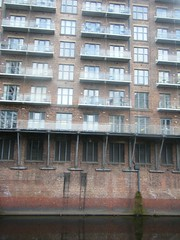Balconies  of apartments next to River Irwell, Salford (rossendale2016) Tags: balconies manchester salford apartments irwell river balconoes