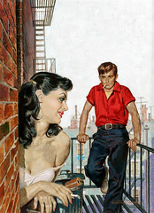 The Bold Saboteurs, paperback cover by William George, 1954 (Tom Simpson) Tags: williamgeorge woman illustration girl vintage painting art theboldsaboteurs paperback cover 1954 man couple romance fireescape city urban boobs 1950s