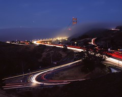 Still Circuitous (RZ68) Tags: golden gate bridge fog low advection sea blue hour light twilight long exposure marin headlands ggnra north side tower red cars traffic trails rz67 velvia provia e100 hill 101 freeway approach san francisco