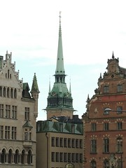 Stockholm Spires (GothPhil) Tags: tower spire steeple church tyskakyrkan german monument architecture historical building rooftops gamlastan oldtown stockholm sweden july 2016