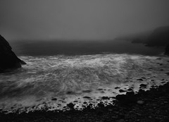 Foggy Beach II (Maggie's Camera) Tags: olympus olympusem1 livecomposite foggybeach dusk sunset nightcomingon blackandwhite beach seascape sea foam waves longexposure gloomy damp foreboding fog wales pembrokeshire september2016