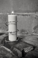 (Charlie Little) Tags: cathedral carlislecumbria cameraphone candle panasonic lumix cm1 blackandwhite