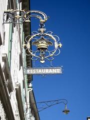 Sign and Sky (jchants) Tags: 16alogooremblem switzerland pontresinaswitzerland sign metal blue sky 116in2016 dieschweiz