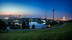 Good Night Munich (xxremixx) Tags: munich mnchen bavaria bayern sonnenuntergang sunset sundown bluehour blauestunde olympiapark olympia park tower o2 stadium allianz arena bmw world architecture city cityscape landscape landschaft skyline