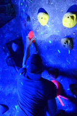 GRO_8320 (WK photography) Tags: chalk climbing blacklight bouldering grotto headlamp rockclimbing glowsticks guelphon rockshoes guelphgrotto