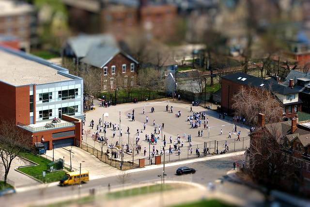 Spring Fun in Miniature School Playground