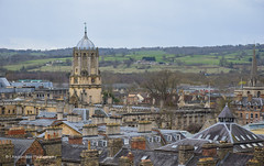 Tom Tower dominates the Oxford skyline (Tim Cambridge) Tags: city tower rooftop students weather architecture clouds campus ancient university spires sunny aerial medieval dreaming study rainy elite oxford dome limestone oxfordshire academic oxbridge