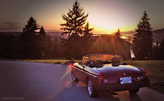 Sitting on Top of the World (Just Call Me Dave) Tags: sunset canada car spring britishcolumbia sunny burnaby mgb burnabymountainpark efs1585f3556isusm