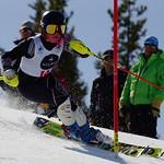 Meg Cumming (Apex Ski Club) racing to GOLD at Mount Norquay Alberta Keurig Cup slalom PHOTO CREDIT: Derek Trussler