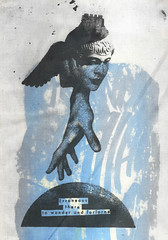 Urania's Ode to A Lost Paradise (Markos Zouridakis) Tags: colors collage john stars lost wings screenprint paradise earth space pegasus olympus athens muse greece miller silkscreen astronomy astrology urania synergastirion