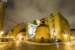 20160720_F0001: Interesting little Prague streets (wfxue) Tags: street old city longexposure windows light sky house building history cars tourism church architecture night clouds town czech prague cloudy tourists structure round historical oldtown rotundanalezensvke