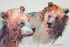 """stroll"" - watercolour (Nora MacPhail) Tags: worldwatercolormonth worldwatercolormonth2016 worldwatercolourmonth bear bears animal mammal art painting daily painter drawing paint draw sketch sketching vignette illustration illustrator noramacphail etsy"