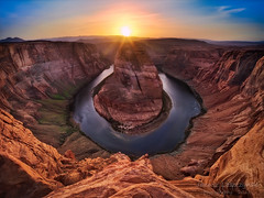 The Bend , Page , Arizona (o_maloosak_o) Tags: janusz leszczynski horseshoe bend page arizona colorado river red rock hight sunset desert nationalmonument drop hdr