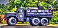 Mission BBQ (creepingvinesimages - struggling to keep up!) Tags: htt military truck sign advertising recruiting colors outdoors charlottesville virginia rt29 nikon d7000 pse14 photomatix topaz adjust