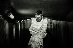 Asylum (sophie_merlo) Tags: asylum dark mad lunatic male man malemodel madness tunnel lightandshade light graffiti bw blackandwhite mono monochrome