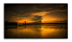 Beginnings (RonnieLMills) Tags: county new morning ireland light sunlight lighthouse seascape tourism beach sunshine silhouette clouds sunrise reflections landscape photography dawn harbor early sand nikon angle cloudy harbour sandy tide low wide down photograph ripples rim northern tamron peachy beginnings donaghadee 1024 autofocus d90 bestpartoftheday