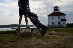 Bench Monday: Wind Beneath My Cloak (RielleM) Tags: ocean travel lighthouse canada tourism novascotia roadtrip coastal plaid daytrip atlanticcanada benchmonday
