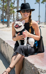 Sister and Henry at the Beach (EvanJawnson) Tags: ocean california ca summer dog hot beach girl smile hat sunglasses smiling puppy happy 50mm la pier losangeles puppies nikon sister santamonica july sunny frenchie frenchbulldog nikkor doggie niftyfifty d7100 nikond7100