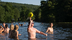 Man throwing ball in River Avon, with swimmers (Ian Redding) Tags: uk summer people sun lake playing hot nature water sunshine weather swim ball river outdoors bath rugby july somerset games british crowds throwing riveravon hottestday hundreds warleighweir