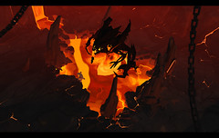 Demon Lord - Albion Online (JamesGoblin) Tags: screenshots screenshot screen birdseyeview view birdseye albion online mmo mmorpg pvp game gaming pc sandbox medieval fantasy entertainment fun computers cyberculture games onlinegames videogames computer rpg multiplayer albiononline android crossplatform multiplatform clicktomove windows linux mac play player chain chains hell lava magma magmic demon demons look cliff underground redheat melting melt dark darkness cave