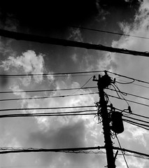 LAYERS OF SEASONS (Dinasty_Oomae) Tags:   agfa isolette isoletteiii   monochrome blackandwhite blackwhite bw outdoor   funabashi chiba     utilitypole utilitywire wire  cloud  sky