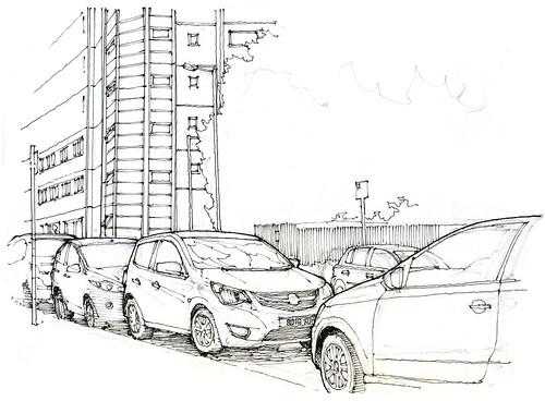 Manchester, 7e symposium Urban Sketchers (gerard michel) Tags: symposium urbansketchers manchester workshop car auto sketch croquis
