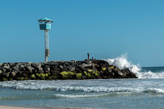 49 places i like to visit, The Beach (Jill Wbg) Tags: beach groin lookout fishermen fishing waves splash ocean rocks