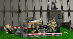 My home, my fortress (Garry_rocks) Tags: lego mecha hardsuit industrial dam toxic waste diorama