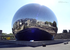 Cite des Sciences reflected in the Geode (eutouring) Tags: paris france travel geode cinema thegeode geodecinema sphere architecture mirror citedessciences reflection triangle