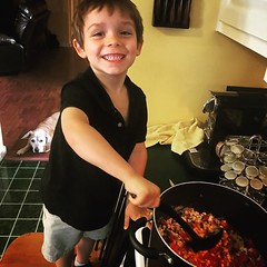 This boy had so much fun cooking soup for family dinner! #granswednesdays (kldwelch) Tags: instagramthis boy had much fun cooking soup for family dinner granswednesdays september 29 2016 0748pm
