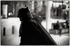 Hero of the Day (BeyondThePrism) Tags: city shadow blackandwhite bw white silhouette vancouver digital dark walking real lights blackwhite justice costume outfit nikon downtown comic noir dof bc noiretblanc walk britishcolumbia badass depthoffield identity convention metallica comicbook superhero batman conventioncenter knight cape desaturated mean rough westcoast vignette citycentre darkknight filmnoir vcc batmanbegins 2015 d600 westcanada fanexpo vancouverconventioncenter vancouverstreets nikond600 darkknightrises fanexpovan