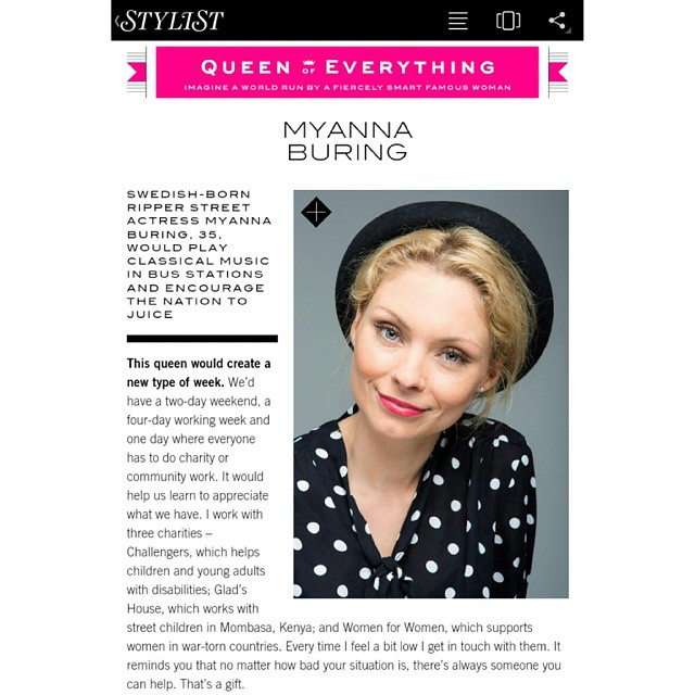 Do you agree with #myannaburing suggesting we have a 4 day working week, 1 day for #volunteering and 2 day weekend? @stylistmagazine #queen of everything. #interview #instaquote