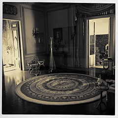 Colonel Mustard In The Study (MPnormaleye) Tags: door bw monochrome museum garden table toy carpet design miniature blackwhite model chair decorative room utata rug drapes showcase processed platinum iphone filtered