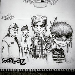 Gorillaz (nonesense69) Tags: black art pencil sketch none drawing good character feel sketchbook days demon graffitiartist nonsense gorillaz inc 2015