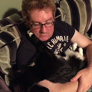Cuddles with Badger cat! #cat #badger #duresta #sofa #ginger #glasses #gayginger #gayuk #cuddles #feline #black #white #feet #cute #abercrombie #fitch #a&f #splock