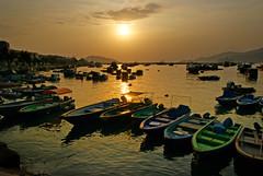 Cheung Chau Island.Hong Kong. (Bernard Spragg) Tags: cheungchauisland hongkong sunset harbour boats fishingboats evening sony