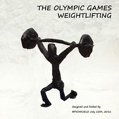 WEIGHTLIFTING (PICARUELO) Tags: sport deporte origami papiroflexia crumple crimp olympic games olimpiadas weightlifting halterofilia