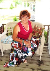 Wearing Every Color Of The Rainbow, And Then Some (Laurette Victoria) Tags: porch skirt necklace laurette woman pose earrings