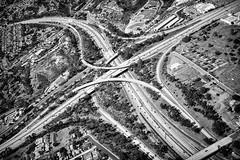 X (GavinZ) Tags: asia travel aerial highways sandiego california usa blackandwhite bw monochrome cross intersection overpass road
